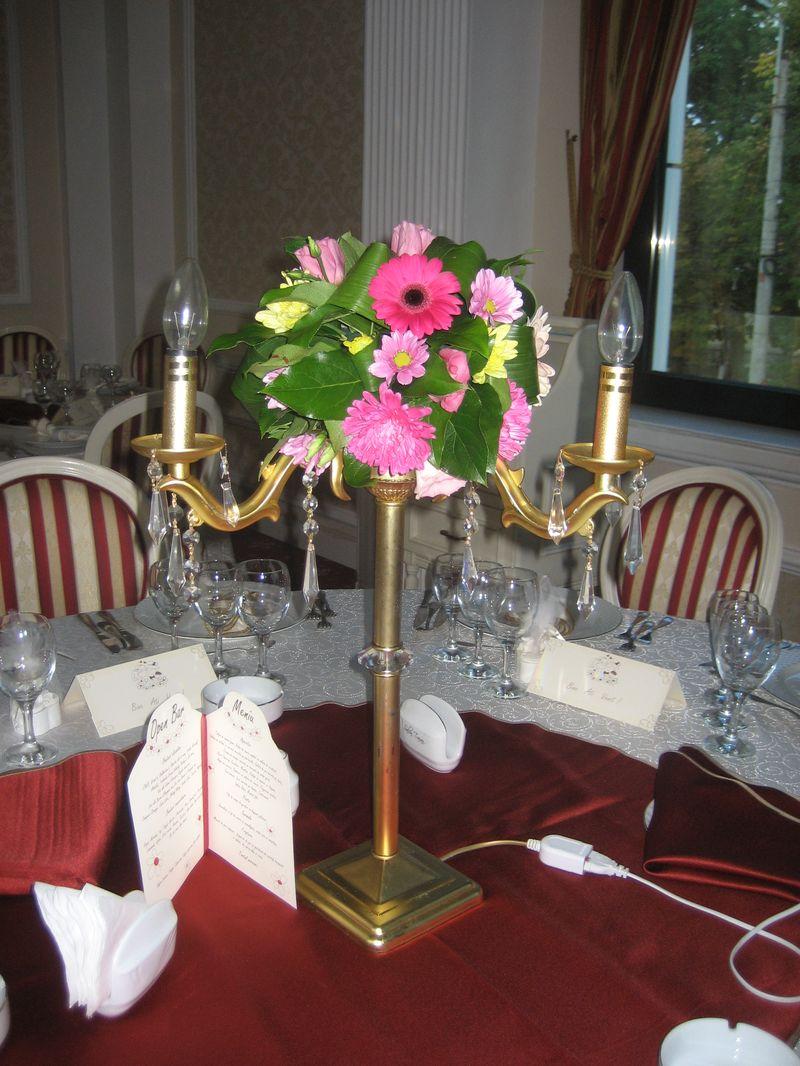 AM 06-50,00 Ron-Aranjament de masa cu gerbera si crizanteme