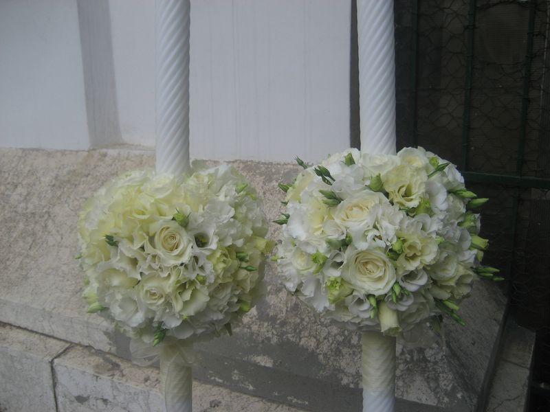 LN 03-500,00 RON-Lumanare nunta cu trandafiri si lisianthus