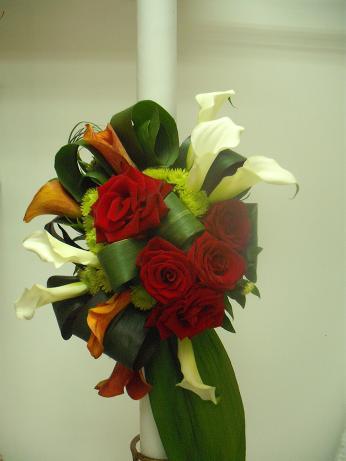 LN 08-280,00 RON-Lumanare nunta cu trandafiri santini si cale