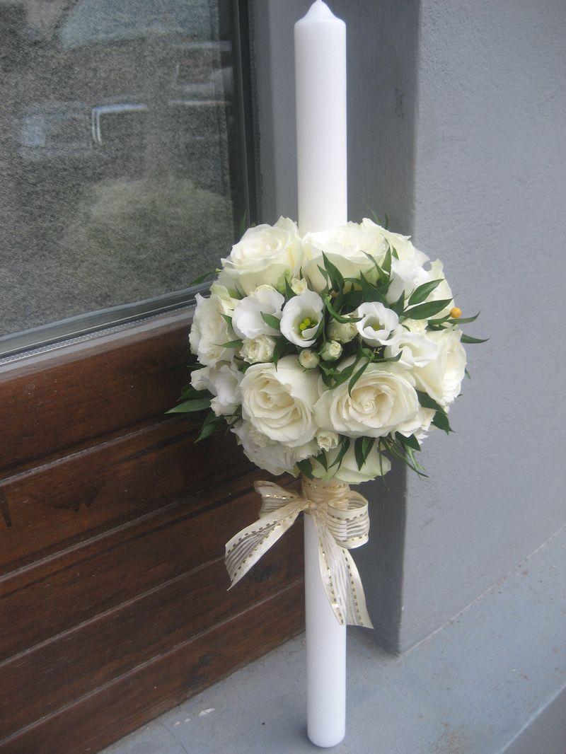 LB 04-240,00 RON-Lumanare botez cu trandafiri mirosa si lisianthus
