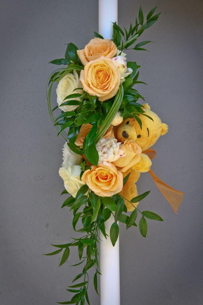 LB 07-180,00 RON-Lumanare botez cu trandafiri si bujori