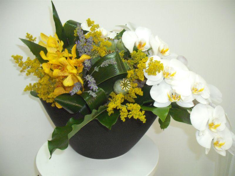 AN 15-190,00 Ron-Aranjament natural cu phalaenopsis, mokara, solidago si flori de mac