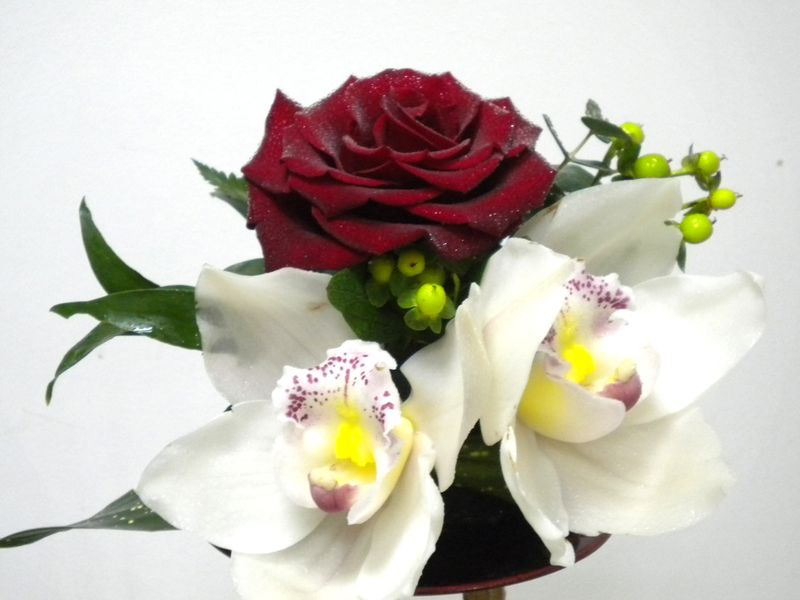 AN 18-40,00 Ron-Aranjament natural cu trandafir si orhidee