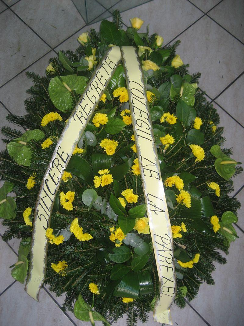 FC 15-450,00 Ron-Coroana funerara cu anthurium si crizanteme