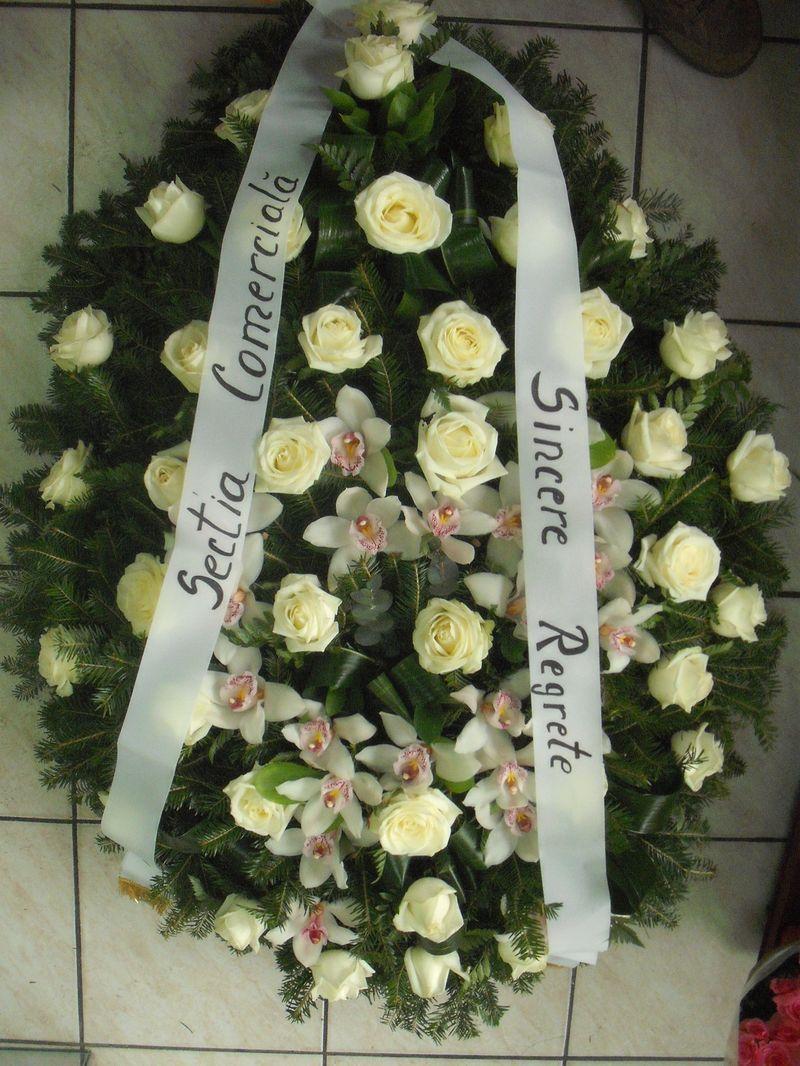 FC 20-550,00 Ron-Coroana funerara cu trandafiri si orhidee cymbidium