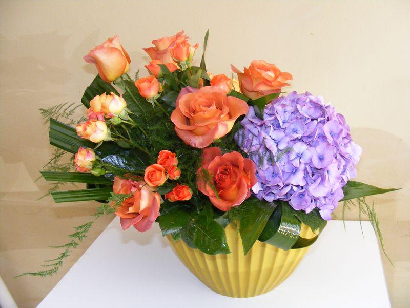 AN 34-180,00 Ron-Aranjament natural cu hortensie, trandafiri, minirosa